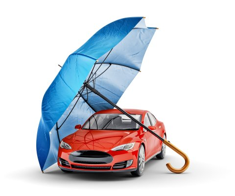 extended vehicle warranty USAA red car under blue umbrella