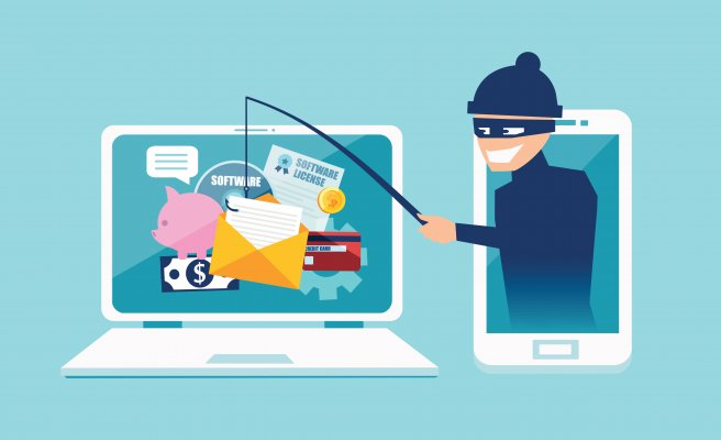 Cartoon criminal phishing online
