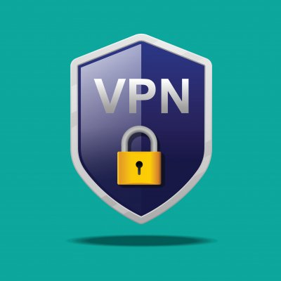Shield with VPN protection and lock.