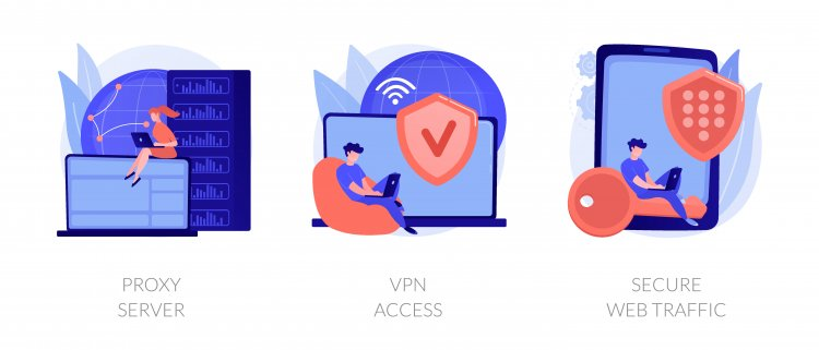 Image of secure internet connection with vpn.
