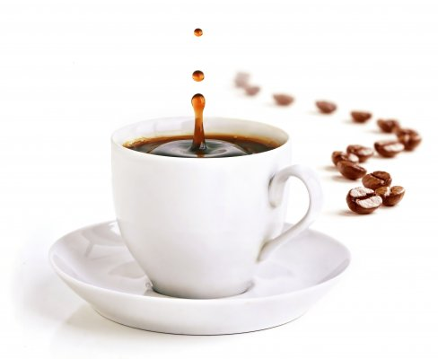 drip of coffee white coffee cup coffee beans white background drip coffee makers
