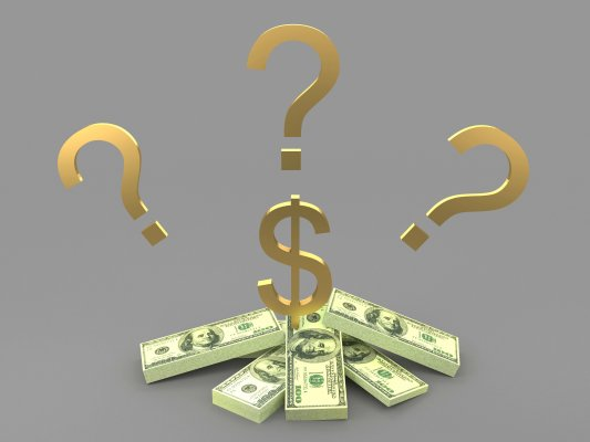 truthfinder background check service price cost golden question marks and dollar sign over dollar bills gray background