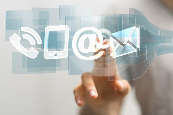 hellofax online fax service chrome google fingers pressing on @ sign envelope mail phone digital online faxing