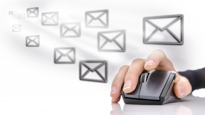 hand on mouse mail envelopes email marketing