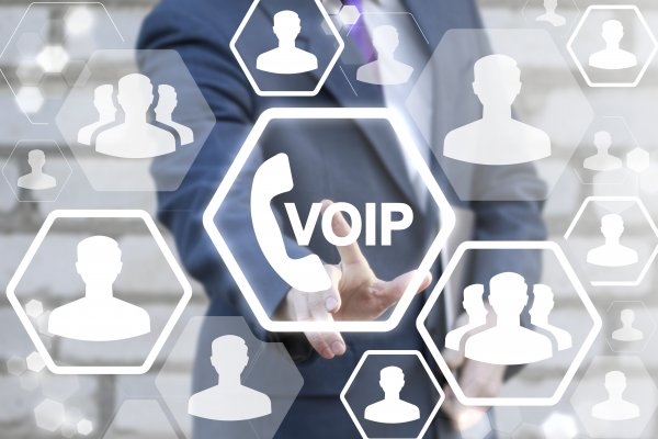 features phonepower voip service man in suit touching voip call sign people icons communication
