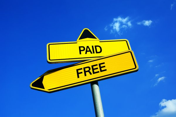 free paid vpn blue sky yellow paid and free arrow signs