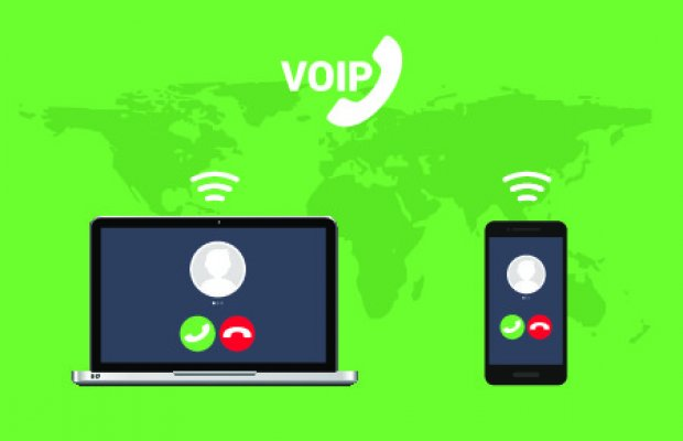 1-voip features benefits voip service voip cloud internet communication between computers and smartphones green background with world map
