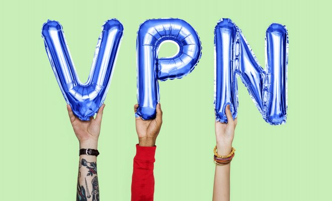 privatevpn, vpn benefits, hands holding blue VPN letters, green background