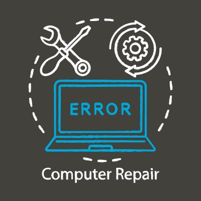 price Smart System Repair cost utility software wrench and screwdriver computer repair program software blue laptop displaying an error