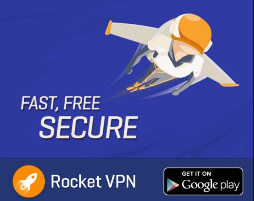 rocket vpn logo blue background cartoon vpn services