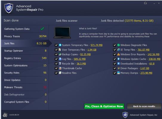advanced system repair screenshot menu