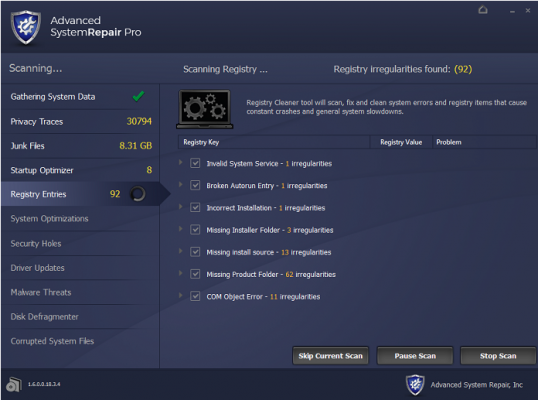advanced system repair pro screenshot menu