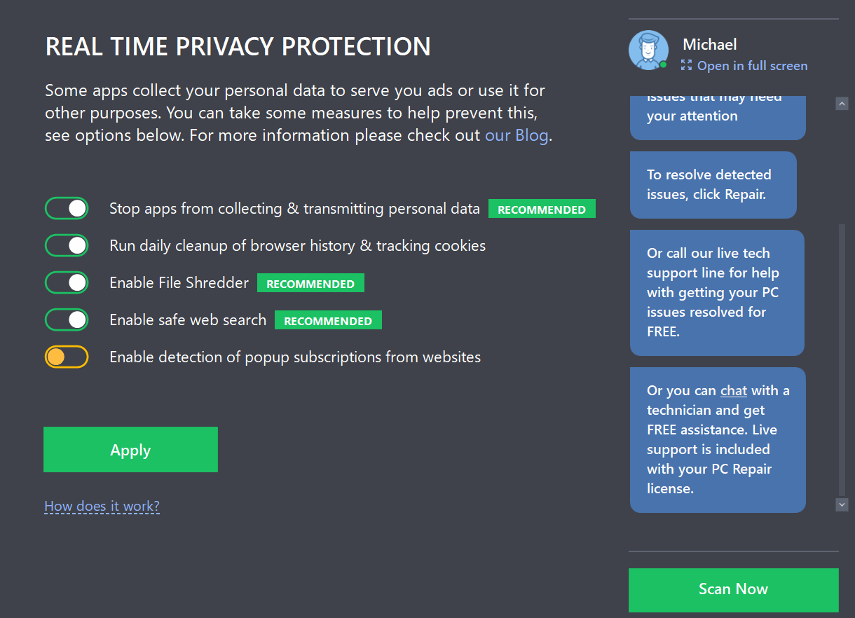 Real time protection screen
