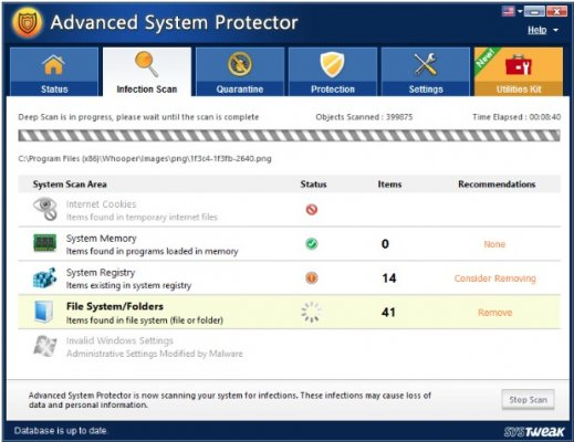 advanced system protect software screenshot