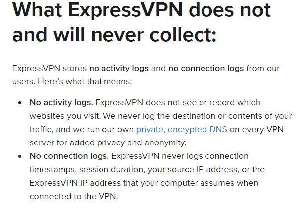 ExpressVPN no logging activity