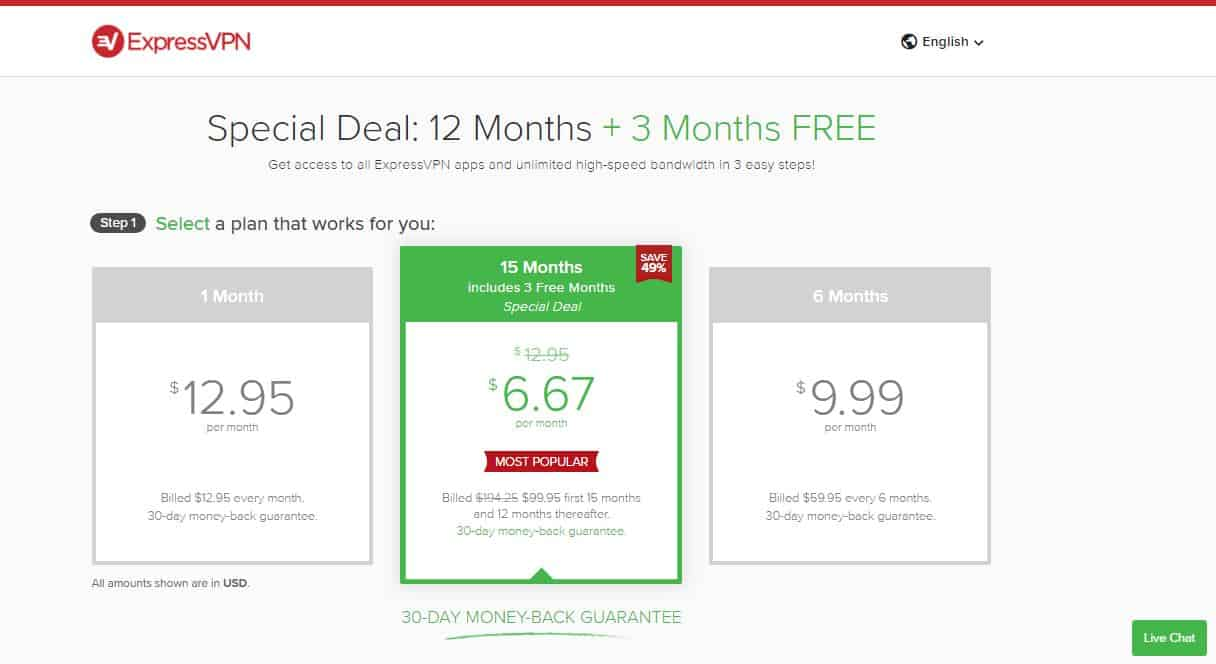 expressvpn pricing plan