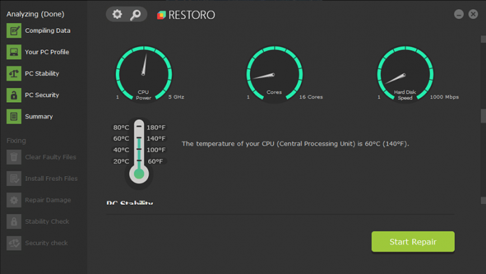 restoro screenshot hardware issues