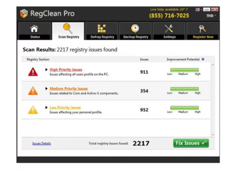 RegClean Pro registry cleaners screenshot